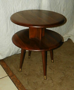 Image Is Loading Mid Century Queencity Solid Walnut Round 2 Tier