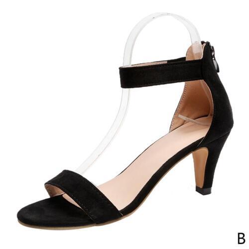 Damen Damen Open Toe High Heels Knöchelriemen mit Reißverschluss Sandalen Pumps