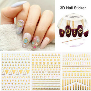 3D-Nail-Stickers-Rose-Gold-Silver-Laser-Geometry-Nail-Art-Transfer-Decals-Tips