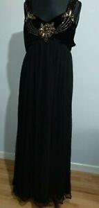 Biba-schwarz-Maxikleid-Gold-verziert-Groesse-12-Partykleid-Chiffon-Abendkleid-beschaedigt