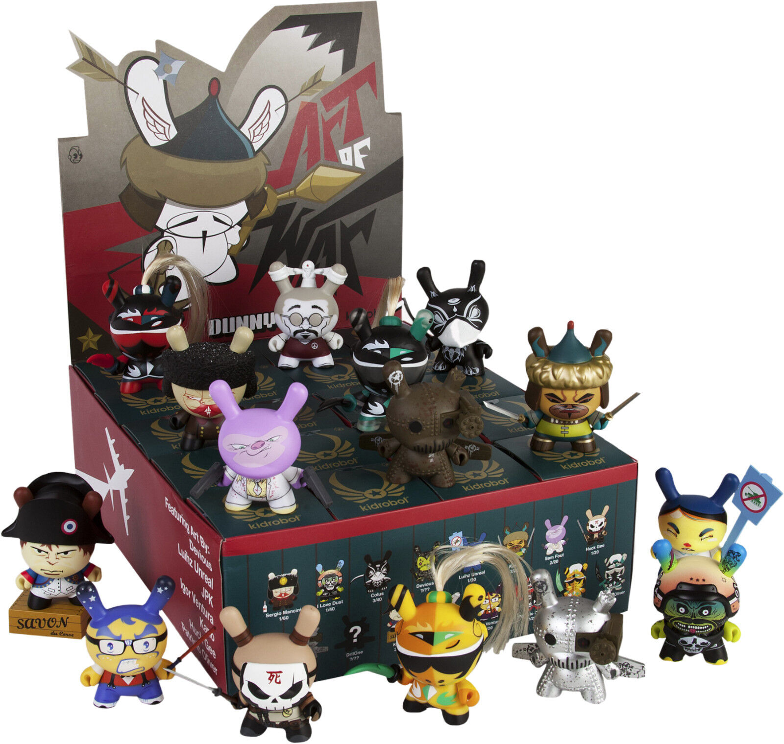 KIDROBOT Dunny 3  'The Art of War' 2014 Blind Box Vinyl Figurines Display (20ct)