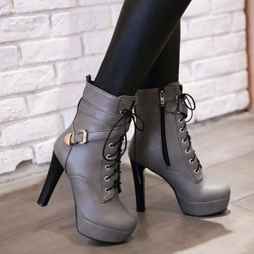 Womens Block High Heel Lace Up Platform Party Shoes Zipper Riding Ankle Boots Sz