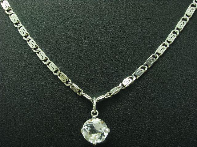 925 Sterling silver Kette & Anhänger mit Bergkristall Besatz   Echtsilver