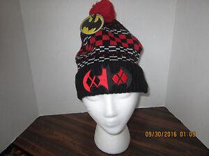 acb34ac2a9e Harley Quinn Dc Comics Batman LOGO Pom Knit Beanie Stocking Cap Hat ...