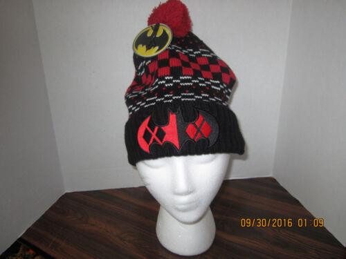 Harley Quinn Dc Comics Batman LOGO Pom  Knit Beanie Stocking Cap Hat NEW TAGS