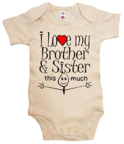 """Lustig Baby Body /"""" I Love Mein Bruder /& Schwester Das Viel /"""" Strampler Geschenk"""