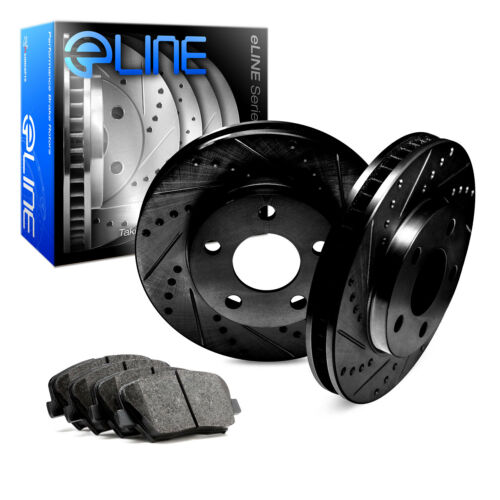 For 2009-2011 Audi A6 Quattro Rear Black Drill Slot Brake Rotors+Ceramic Pads