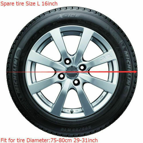 "16/"" Black Spare Wheel Tire Cover Heavy Vinyl Easy Install Protector 29/"" 30/"" 31/"""