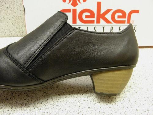 Rieker ® réduit Cuir Escarpins Noir r208