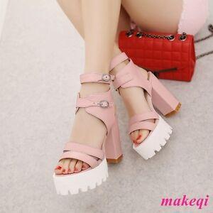 7dbef8ab9ed Image is loading New-Fashion-Womens-Platform-Cross-Strap-Sandals-Block-