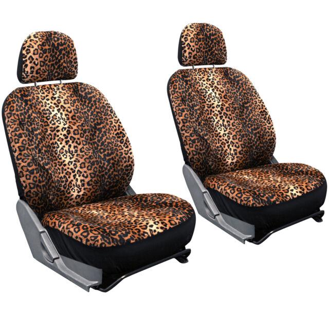21pc Seat Cover Leopard Cheetah Print For SUV Floor Mats Belt Pad Steering Wheel