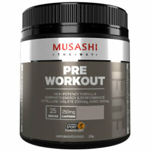 MUSASHI Pre-Workout Blend 225g High Potency Formula for Energy & Performance