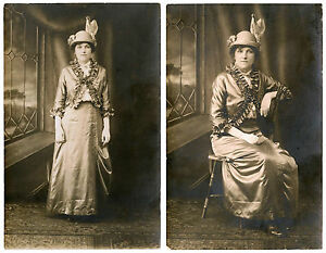 EDWARDIAN-FASHION-PORTRAIT-OF-STYLISH-WOMAN-TWO-VINTAGE-REAL-PHOTO-POSTCARDS
