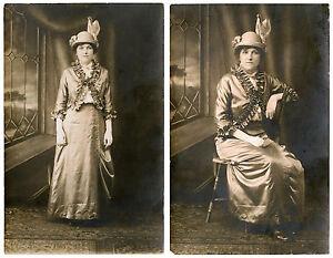 EDWARDIAN-FASHION-PORTRAIT-OF-A-STYLISH-WOMAN-amp-TWO-VINTAGE-REAL-PHOTO-POSTCARDS