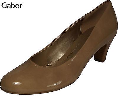 GABOR Schuhe Pumps Beige Lack High Heel Absatz 50 mm Pfennigabsatz NEU