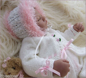 DK-Knitting-Pattern-24-TO-KNIT-Baby-Girls-or-Reborn-Dolls-Cardigan-Hat-Trousers