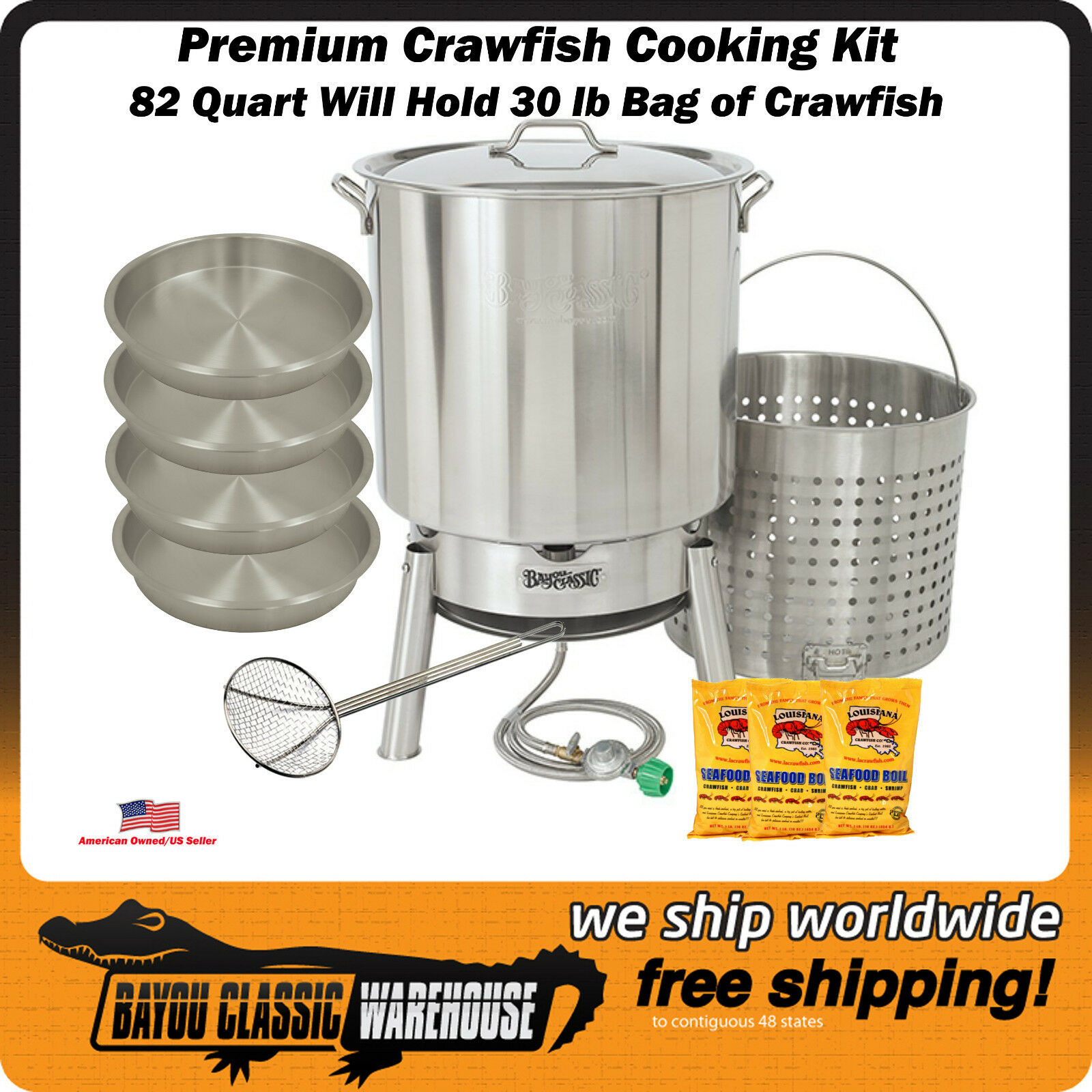 Crawfish Cooking Kit 82 Quart Quart Quart Premium Stainless Steel Hold up to a Bag of 30 Lbs 54950e