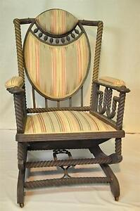 Original-George-Hunzinger-Barley-Twist-Oak-Platform-Rocker-Rocking-Chair-1890-039-s