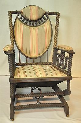 Original George Hunzinger Barley Twist Oak Platform Rocker Rocking Chair  1890u0027s
