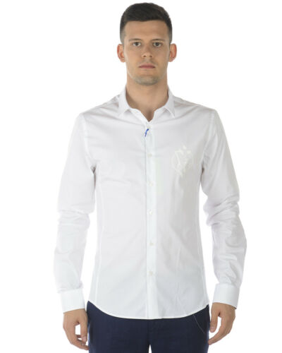 Blanc 3 Versace B1gra6e0 Homme Extraslim Chemise Coton Chemise Jeans En wUq7x0R6