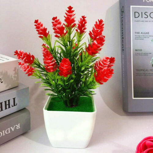1X Realistic Artificial Flowers Plant In Pot Outdoor Home Office Decor Gift18 CM