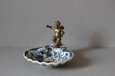 Seifenschale im Antiklook Shabby Chic Landhaus Keramik Blumendekor blau-weiss