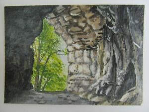 ACEO-Original-Acrylic-Painting-Landscape-Inside-The-Cave-by-Artist-Joan-Hutson