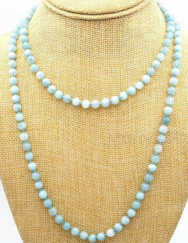 "Genuine 8 mm Naturel Bleu Brésil Aquamarine Beads Bijoux Collier 36/"" Long"