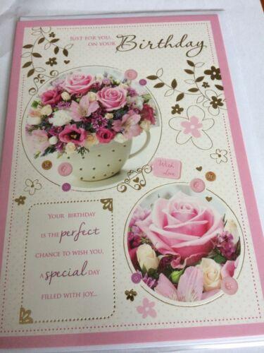 Open female birthday cards.