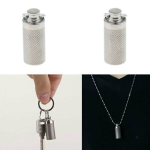 Outdoor Portable Mini Pill Box Waterproof Capsule Case Titanium Keychain