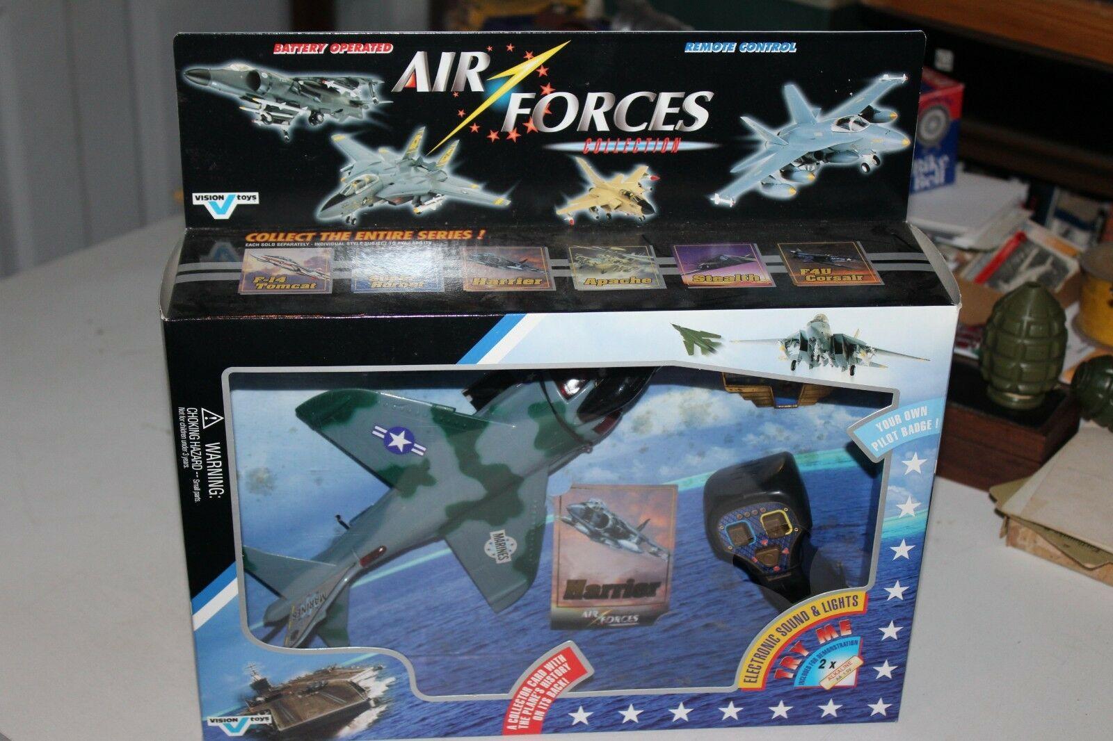 VERY NICE VISION TOYS BATTERY OP REMOTE MARINES HARRIER JET MIB