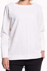 Van-Laack-Merle-blusa-senora-camisa-jersey-blanco-cuello-redondo