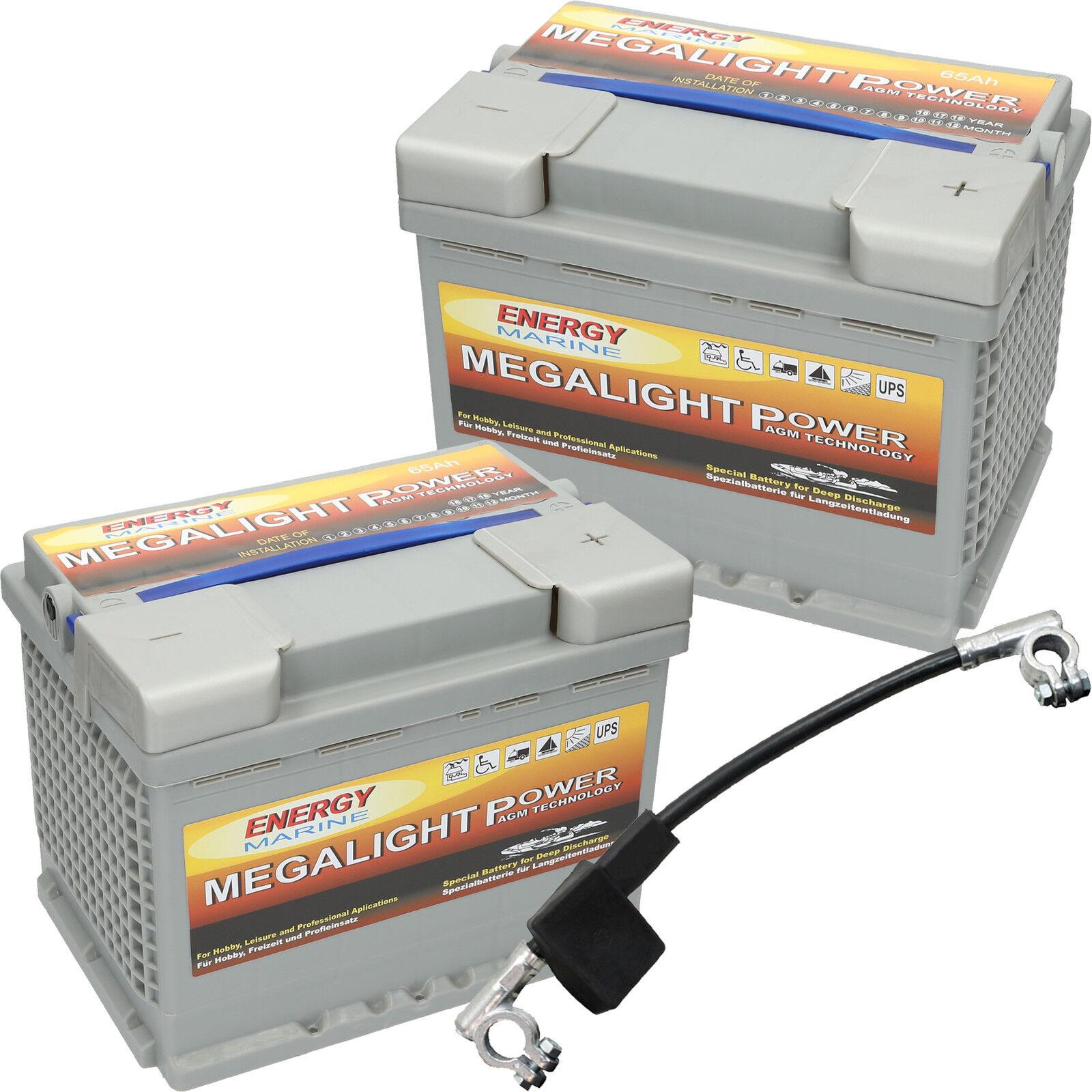 2 x Megalight 12V 65Ah AGM Batterie Camping Reisemobil 12 24 Volt