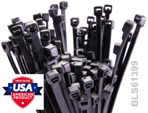 """100 USA Made TOUGH TIES 4/"""" inch 18lb Nylon Tie Wraps Wire Cable Zip Ties Black"""