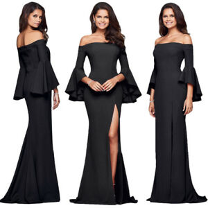 Womens Black Trumpet Bell Sleeve Formal Ball Gown Party Prom