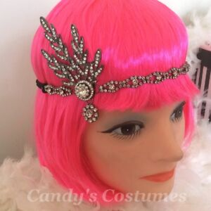 Rhinestone FLAPPER Gatsby HEADPIECE Costume JEWELLERY Fascinator FORMAL Headband
