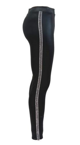 Damen Leggings Hose Kunstleder Schwarz mit seitlichen Kontrast Streifen P1812