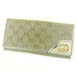 c44d14642a5910 Gucci Wallet Purse Long Wallet G logos Silver Gold Woman Authentic ...