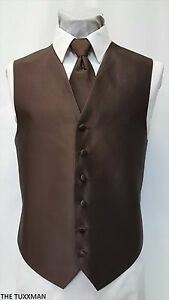 M-Medium-Mens-Dark-Brown-Tuxedo-Used-Vest-Long-Tie-Discount-Formal-Prom-Wedding