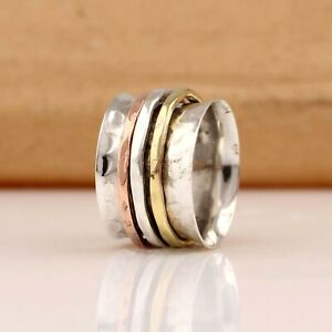 Solid-925-Sterling-Silver-Spinner-Ring-Meditation-Ring-Statement-Ring-Size-RA49