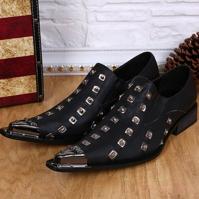 Men  Nightclub Leather Rivet Metal Loafer British Casual Formal Dress shoes