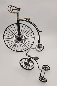 Home Interiors Metal Wire Tricycle High Wheel Bicycle Brass Wall Shelf Decor