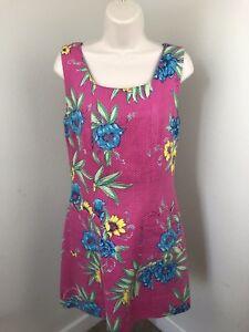 VTG-Lilly-Pulitzer-Knit-Dress-Size-10-Pink-Floral-Print-100-Cotton-Pockets