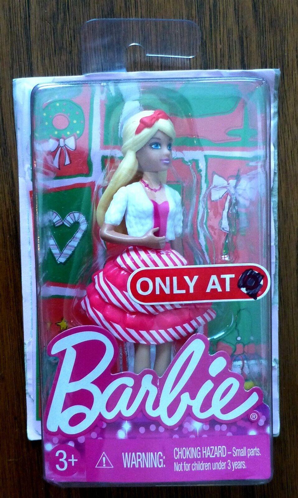"Set of 2 Barbie Happy Holidays 4/"" Mini Dolls Target Exclusive XMAS 2014 NEW"