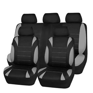 Universal-Car-Seat-Covers-Neoprene-WATERPROOF-Full-Seat-Airbag-Fit-Black-Grey