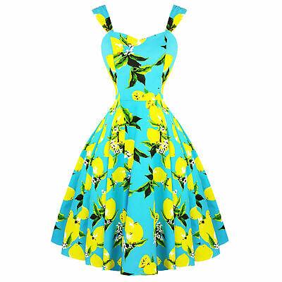 Hearts /& Roses 1950s Vintage Blue Lemon Fruit Plus Size Summer Rockabilly Dress