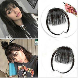 Women-Thin-Neat-Air-Bangs-Human-Hair-Extensions-Clip-In-Fringe-Front-Hair-Piece