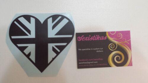 HEART UNION JACK SATIN BLACK Car//Bike//Window//Wall//Laptop Vinyl Decal Sticker