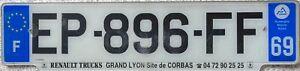 France Dept 69 Region Rhone Alpes Licence License French Number Plate EP-896-FF