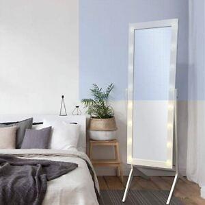 Full Body Length Floor Mirror Cheval Led Lights Wood Hollywood